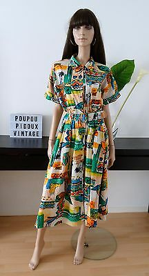 robe 80'S TOGETHER multicolore taille 42/44 / size uk 14/16 / US 10/12