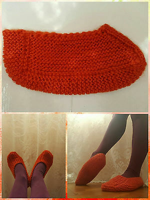 Traditional Bulgarian Soft - Warm - Red - Knitted Socks/Slippers - Handmade
