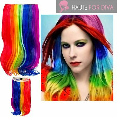 Ladies Party Rainbow Multicolour Long Wavy Synthetic Clip In Hair Extension