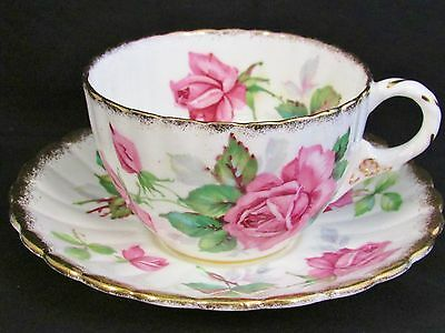Royal Stafford Berkeley Rose Sponged Gold Tea Cup And Saucer