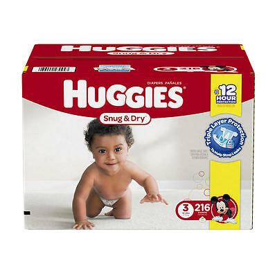 Huggies Snug and Dry Size 3 Baby Diapers - 216 Count