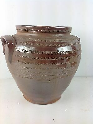 Large Stoneware Pottery Vase Old Handles Decorative Vintage