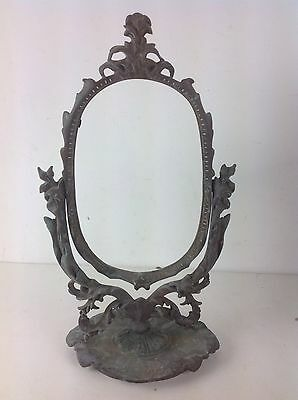Antique Cast Gilted Brass Vanity Beauty Mirror Ornate Picture Frame Old