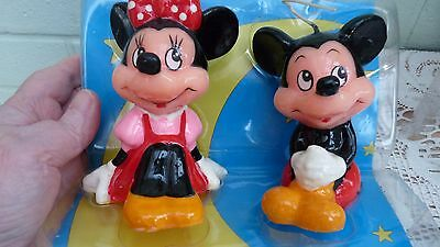 Vintage Genuine Disney Mickey And Minnie Mouse Hand Painted Candles. Mint In Box