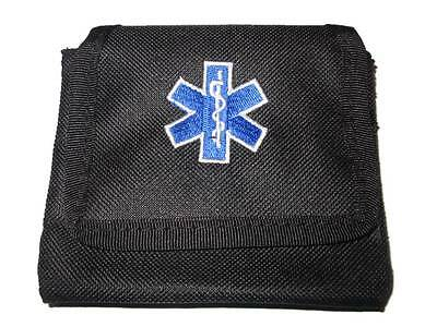 Embroidered Star of Life Glove Pouch (BLACK) for Ambulance, Paramedic, Medic EMT