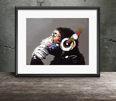Banksy 'DJ Monkey with Headphones' Three Size Options A4 A3 A2 Chimp Gorilla