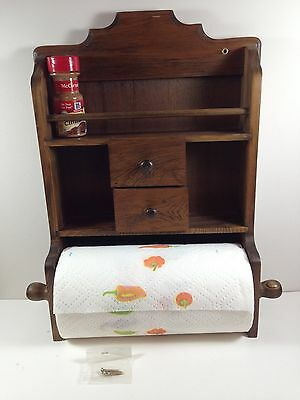 Vintage  Wood Paper Towel Holder/Spice Rack,Drawers Combo With Wood Rod