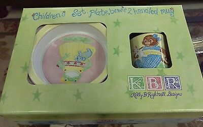 Kelly B Rightsell Childs Dinner Set Plate Bowl Cup -
