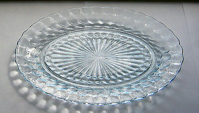 Anchor Hocking Blue Bubble Glass  OVAL SERVING PLATE / PLATTER  -  FGC  12in