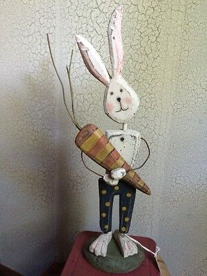 Primitive Wooden Wood Bunny Rabbit Distressed Easter Standing Decoration