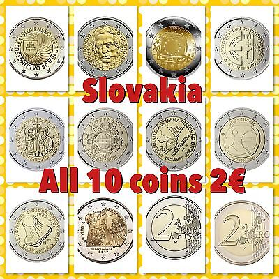 Slovakia 2 Euro All 10 Commemorative Coins New BUNC from Roll