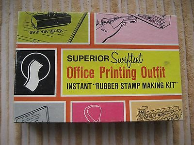 SUPERIOR SWIFTSET, Office Printing Outfit, Rubber Stamp Making Kit ~ INCOMPLETE