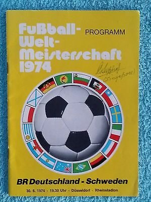 1974 - WEST GERMANY v SWEDEN PROGRAMME - WORLD CUP 74 - AUTOGRAPHED TO COVER