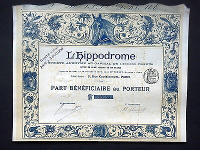 Societe L'hippodrome - Part Beneficiaire - Action - 1898