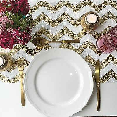 Sparkly Gold Chevron Sequin Table Runner - Ready to ship from the UK