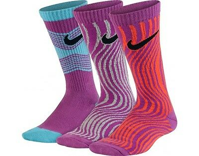 Girls Nike 3-Pack Performance Cotton Lightweight Crew Socks YOUTH 3Y-5Y