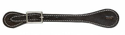 Pair Basic BLACK Finished Leather Adult Size Western Basic Spur Straps New Item