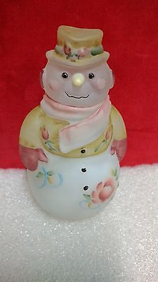 """Fenton Hand Painted """"Victorian Rose"""" Snowman Lady Fairy LIght with box"""