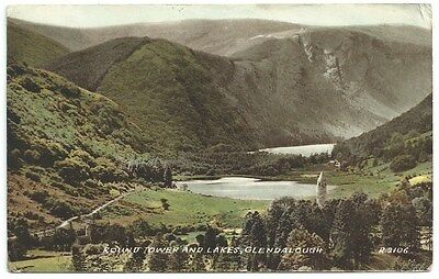 Vintage Postcard. Round Tower & Lakes, Glendalough. Used  Ref:71332