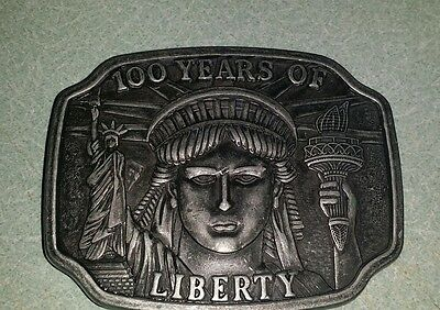 Pewter VINTAGE 1984 **100 YEARS OF LIBERTY** STATUE OF LIBERTY BELT BUCKLE