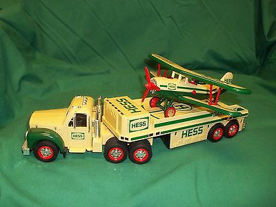 2002 Hess Toy Truck with Double Wing Airplane Tested and Working