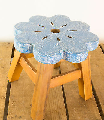 Solid Wood Stool / Wooden Step - Blue Flower - Ideal for Child