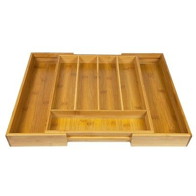 Expandable 5-7 Compartments Bamboo Wooden Kitchen Cutlery Drawer Utensil Tray