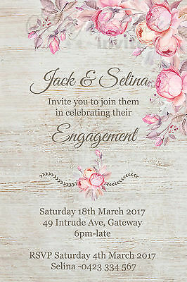 Personalised Invitations Rustic FLORAL pretty engagement / wedding invite