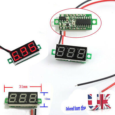 2 Wire Digital Red LED Car Voltmeter Voltage Volt Panel Meter Gauge DC 2.5-30V