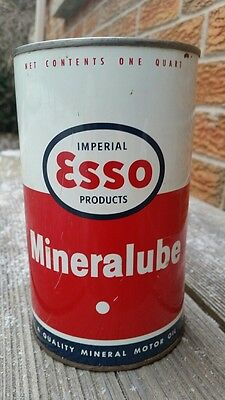 Esso Mineralube Motor Oil Imperial Quart Tin Can Canadian Can