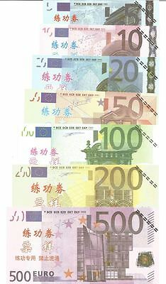 Euros Chinese Training Banknotes up to 500 Euro - Set of 7 MINT condition