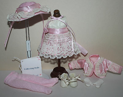 "8"" Madame Alexander MA Pink outfit tagged COLLECTING DOLLS w/hat gloves"