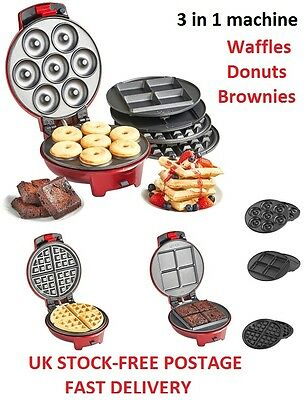 Waffle Maker Donuts Machine Doughnut Brownies 3in1 Breakfast Valentines Gifts
