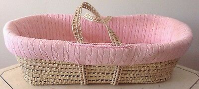 Pink Baby Moses Portable Carrier Wicker Basket , Infant , Travel , Baby Shower