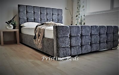 Cube Upholstered Crushed Velvet Bed Frame DOUBLE 4FT6, KING 5FT, SUPER KING 6FT