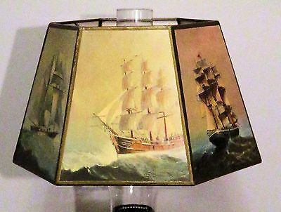 Vintage Hexagon Nautical Lamp Shade for a Glass Chimney