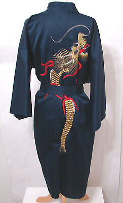Vintage Navy Blue Kimono Robe Dragon Embroidered EDIE ADAMS Japan XXL NWOT