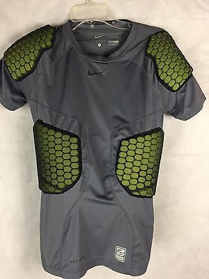 Nike Pro Combart Compression Shirt Youth L Padded Grey Football Dri Fit Base  EE