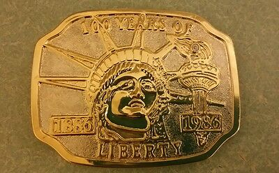 Statue Of Liberty 100 Years Metal Belt Buckle Vintage 1886- 1986 Gold and Silver