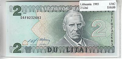 Lithuania 2 Litai 1993 UNC Uncirculated