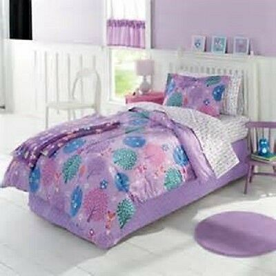Jumping Beans Cozy Critters 7 pc. Bedding Set FULL Bed Comforter PURPLE Fox Owl