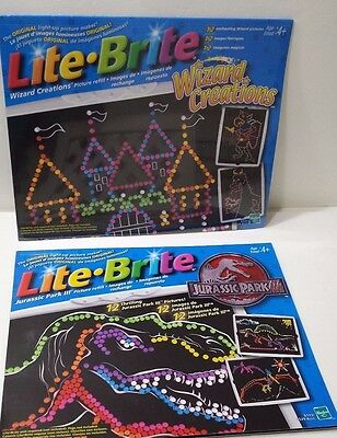 Lite Brite Jurassic Park III & Wizard Creations Picture Refill Set Ages 4+ 2001