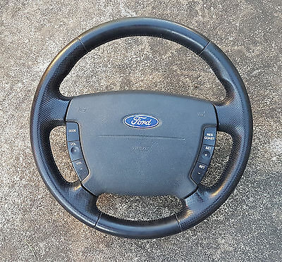 Ford BA BF Falcon Fairmont XR6 XR8 Black Leather Steering Wheel With Airbag