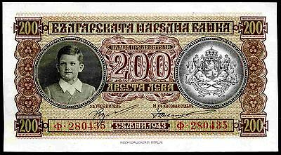 Bulgaria. 200 Leva, 280435, 1943, Good Very Fine.