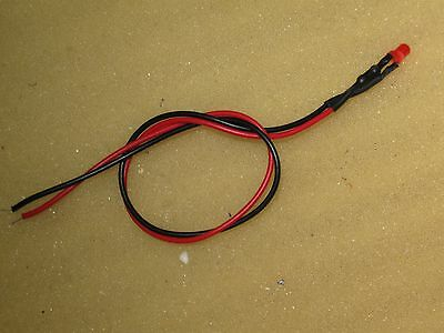 RED TAIL LIGHT 3 mm Led . 12 volt   , 6  volt  or  lower        free postage