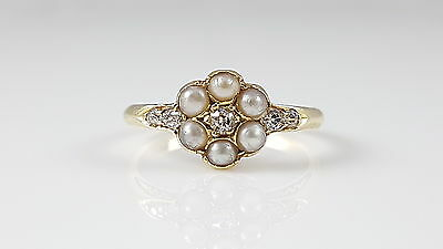 Antique Edwardian 18Ct Yellow Gold Seed Pearl & Diamond Cluster Ring - C1901