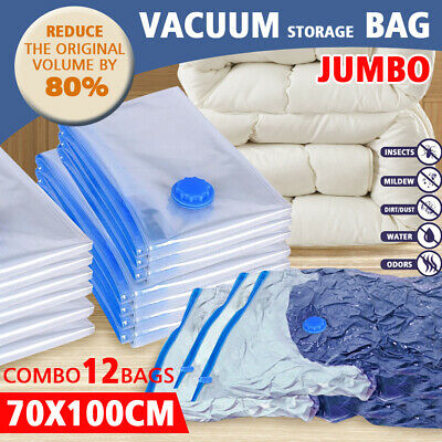 12Pcs  X-Large 70X100 Vacuum Storage Bags Saver Seal Compressing Space Saving