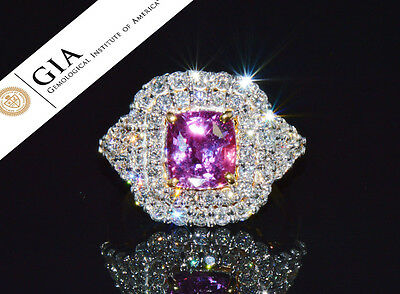 GIA Certified Natural 4CTS VS F Diamond Ceylon Pink Sapphire 18K Solid Gold Ring