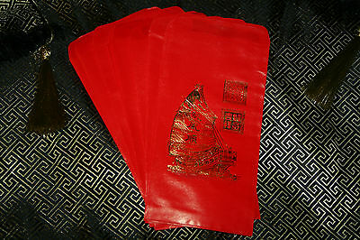 6 LUCKY RED ENVELOPES CHINESE NEW YEAR Feng Shui Gold Wealth Ship Attract  Money