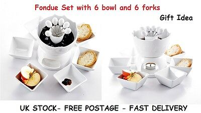 Chocolate Fondue Set Fountain Heart Ceramic Kitchen Birthday Party Gifts Mother